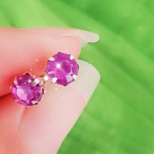 Jewelry - #1256 Silver Studded Earring Purple Lavender